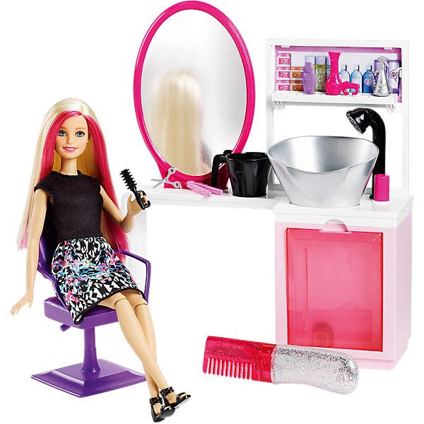 Mattel Barbie Salón krásy se třpytkami blond