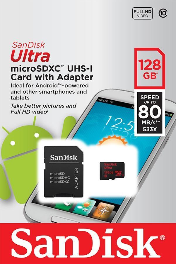 SanDisk microSDXC 128GB Ultra Android UHS-I + adaptér SDSQUNC-128G-GN6MA