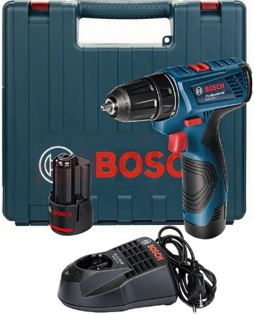 Aku vrtací šroubovák BOSCH GSR 120-LI Professional, 2x1,5 Ah, kufr, 06019F7001
