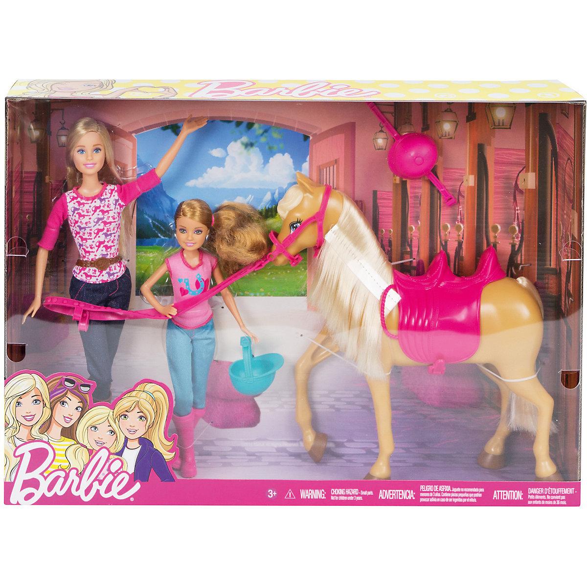 Mattel Barbie s koněm a sestrou cct25