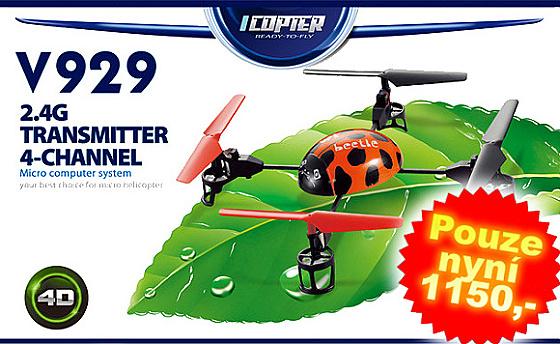 WL RC kvadrokoptéra Toys V929 mini Q4 zelená RTF, 4Ch, 2,4 GHz V929
