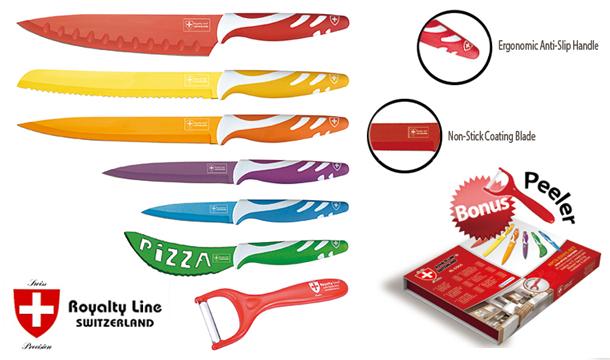 Royalty Line Switzerland sada 6 ocelových nožů s barevným povrchem, škrabka