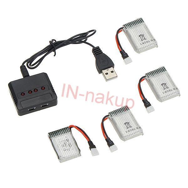 Nabíječ pro 4ks + 4ks Li-Pol baterií 650mah pro Syma X5C,SC,SW, atd. ESUN EUROPE