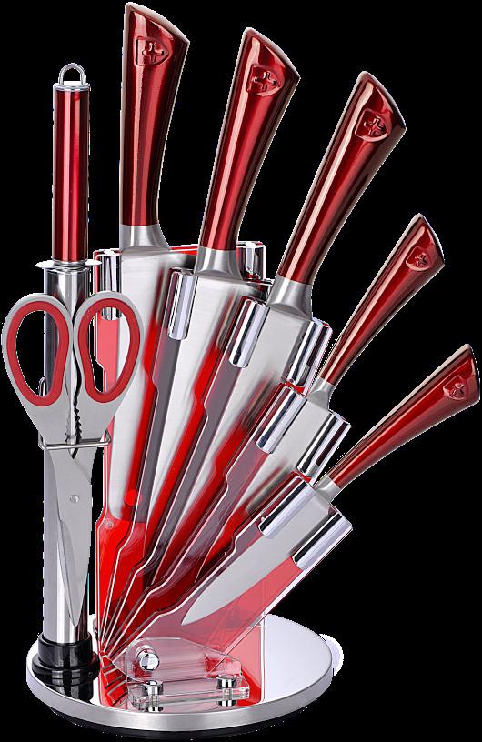 Royalty Line 8-dílná sada ocelových nožů, nůžek a ocílky RL-KSS804