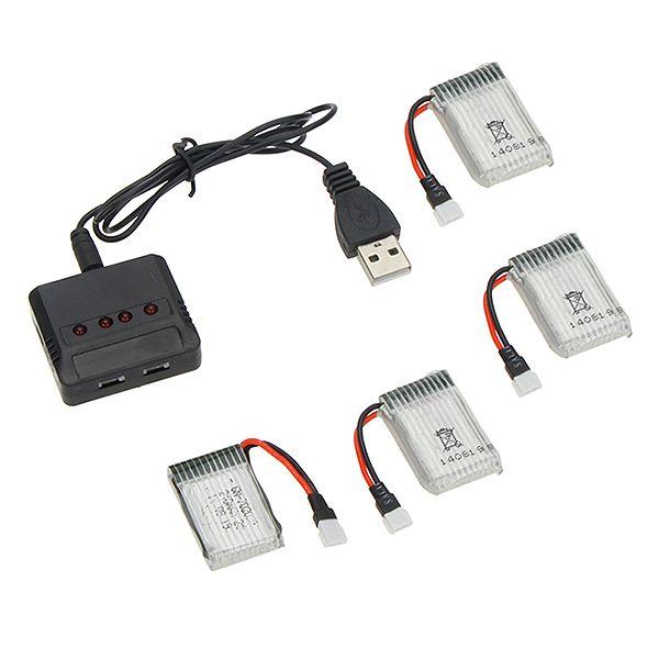 Nabíječka USB + 4ks baterie Li-Pol 650 mAh 3.7V (pro SYMA X5C)